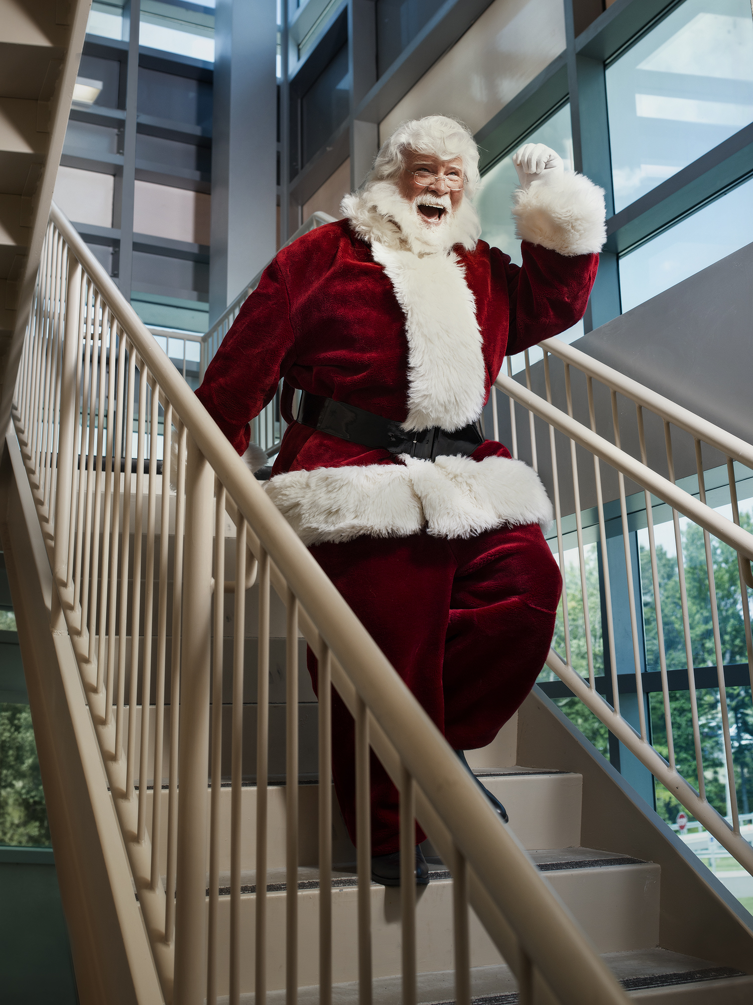 Santa taking stairs